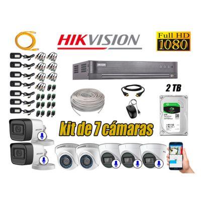 Kit 7 Cámaras de Seguridad Full HD 1080P | 05 Camaras Con Audio Incorporado P2P