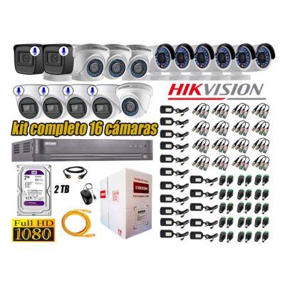 Kit 16 Cámaras de Seguridad Full HD 1080P | 6 Camaras Con Audio Incorporado P2P