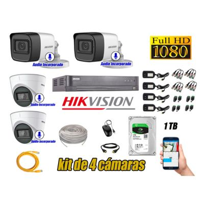 Kit 4 Cámaras de Seguridad Con Audio Incorporado Full HD 1080P Completo P2P
