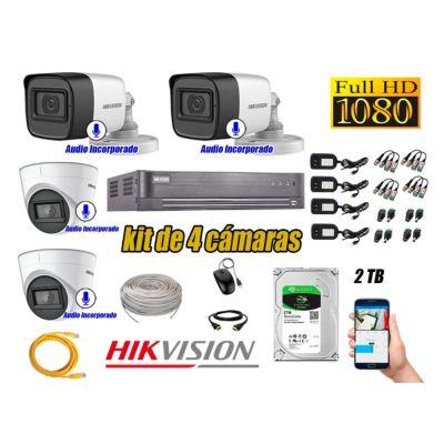 Kit 4 Cámaras de Seguridad Con Audio Incorporado Full HD 1080P Completo