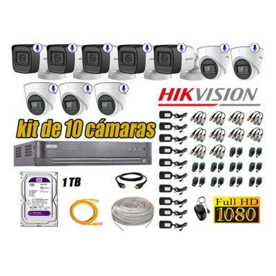 Kit 10 Cámaras de Seguridad Con Audio Incorporado Full HD 1080P Completo P2P
