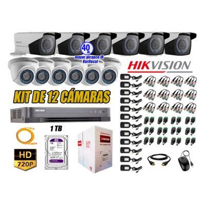 Cámaras de Seguridad Kit 12 HD 720P 1TB WD + Exterior Mayor Alcance Varifocal40M