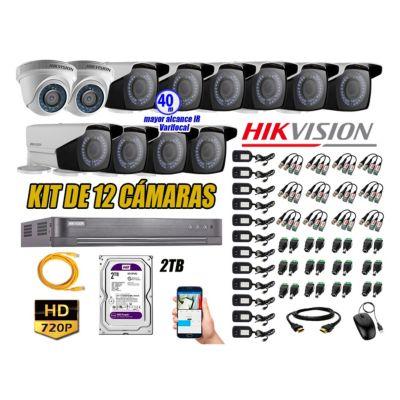 Cámaras de Seguridad Kit 12 HD 720P 2TB + Exterior Mayor Alcance Varifocal 40M Ir