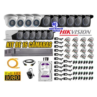 Cámaras de Seguridad Kit 16 Full HD 1TB WD + Exterior Mayor Alcance Varifocal 40M Ir