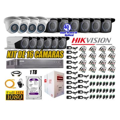 Cámaras de Seguridad Kit 16 Full HD 1TB + Exterior Mayor Alcance Varifocal40M