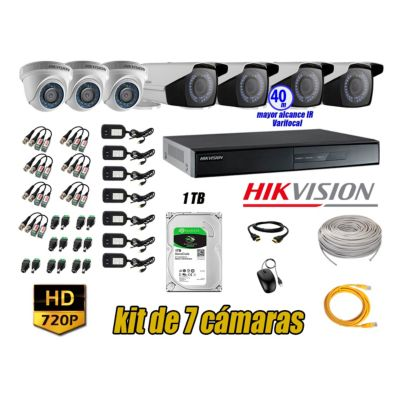 Cámaras de Seguridad Kit 7 HD 720P 1TB + Exterior Mayor Alcance Varifocal40M