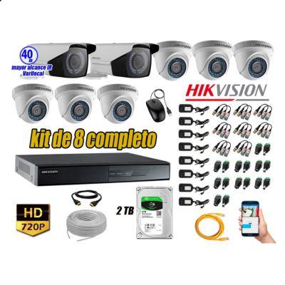Cámaras de Seguridad Kit 8 HD 720P 2TB WD + Exterior Mayor Alcance Varifocal 40M Ir