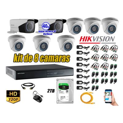 Cámaras de Seguridad Kit 8 HD 720P 2TB + Exterior Mayor Alcance Varifocal40M