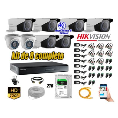 Cámaras de Seguridad Kit 8 HD 720P 2TB WD + Exterior Mayor Alcance Varifocal40M