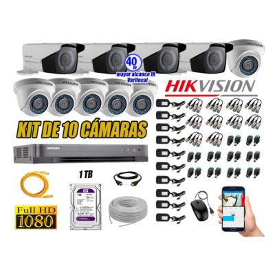 Cámaras de Seguridad Kit 10 Full HD 1TB + Exterior Mayor Alcance Varifocal