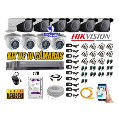 Cámaras de Seguridad Kit 10 Full HD 1TB + Exterior Mayor Alcance Varifocal KIT10-FHD-E106