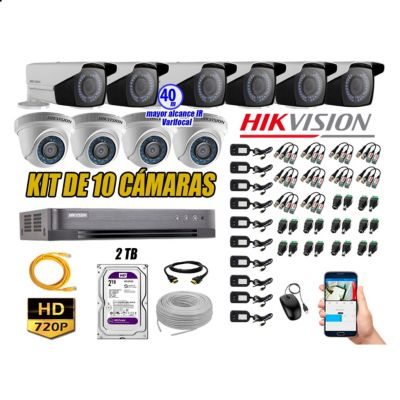 Cámaras de Seguridad Kit 10 HD 720P 2TB WD + Exterior Mayor Alcance Varifocal KIT10-HD-E111