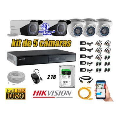 Cámaras de Seguridad Kit 5 Full HD 2TB WD + Exterior Mayor Alcance Varifocal 40M Ir