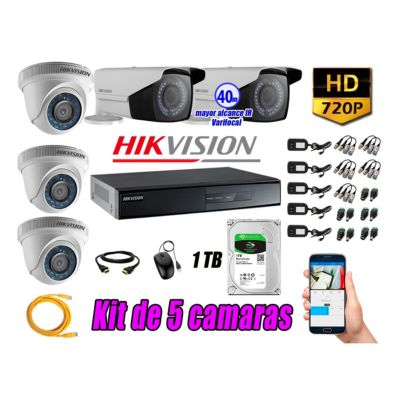 Cámaras de Seguridad Kit 5 HD 720P 1TB WD + Exterior Mayor Alcance Varifocal