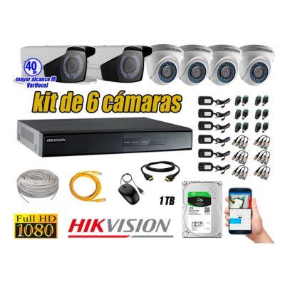 Cámaras de Seguridad Kit 6 Full HD 1TB + Exterior Mayor Alcance Varifocal 40M Ir