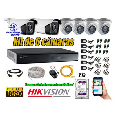 Cámaras de Seguridad Kit 6 Full HD 2TB WD + Exterior Mayor Alcance Varifocal40M