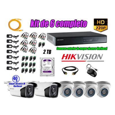 Cámaras de Seguridad Kit 6 HD 720P 2TB + Exterior Mayor Alcance Varifocal40M