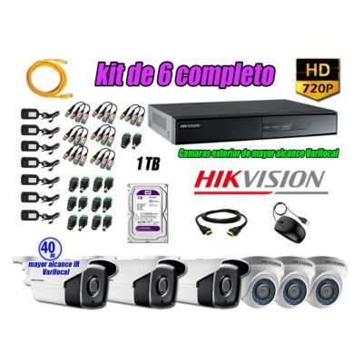 Cámaras de Seguridad Kit 6 HD 720P 1TB + Exterior Mayor Alcance Varifocal KIT06-HD-E046