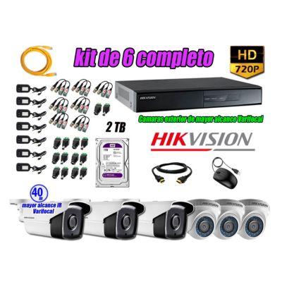 Cámaras de Seguridad Kit 6 HD 720P 2TB + Exterior Mayor Alcance Varifocal