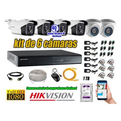 Cámaras de Seguridad Kit 6 Full HD 1TB + Exterior Mayor Alcance Varifocal40M