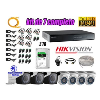 Cámaras de Seguridad Kit 7 Full HD 2TB + Exterior Mayor Alcance Varifocal40M