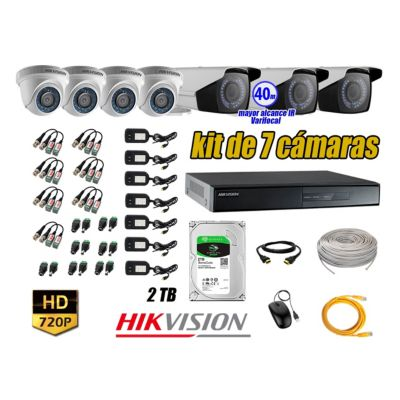 Cámaras de Seguridad Kit 7 HD 720P 2TB WD + Exterior Mayor Alcance Varifocal