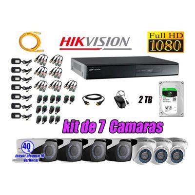 Cámaras de Seguridad Kit 7 Full HD 2TB WD + Exterior Mayor Alcance Varifocal40M
