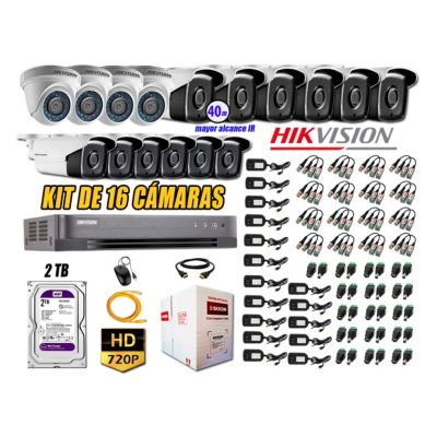 Cámaras Seguridad Kit 16 HD 720P 1TB + Camara Exterior Mayor Alcance It3F P2P