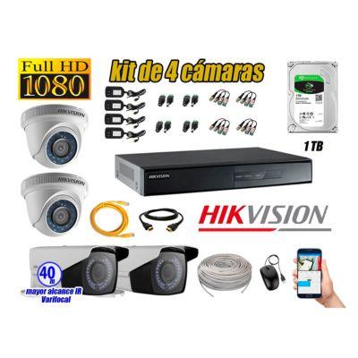 Cámaras de Seguridad Kit 4 Full HD 1TB + Exterior Mayor Alcance Varifocal P2P