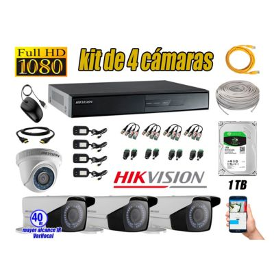 Cámaras de Seguridad Kit 4 Full HD 1TB + Exterior Mayor Alcance Varifocal40M