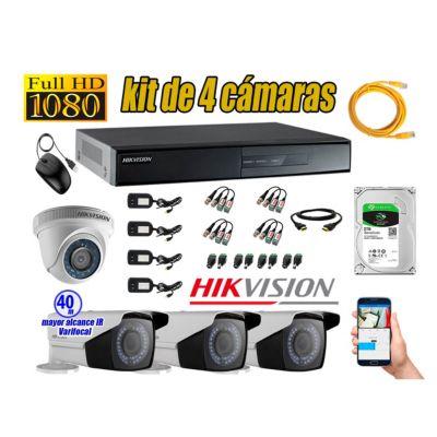 Cámaras de Seguridad Kit 4 Full HD 2TB + Exterior Mayor Alcance Varifocal P2P