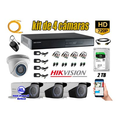 Cámaras de Seguridad Kit 4 HD 720P 2TB WD + Exterior Mayor Alcance Varifocal40M