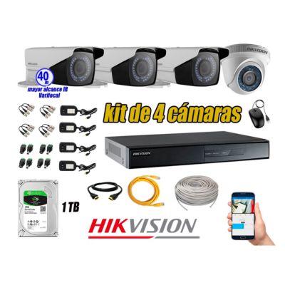 Cámaras de Seguridad Kit 4 HD 720P 1TB + Exterior Mayor Alcance Varifocal KIT04-HD-E016