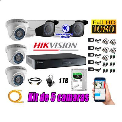 Cámaras de Seguridad Kit 5 Full HD 1TB + Exterior Mayor Alcance Varifocal KIT05-FHD-E018