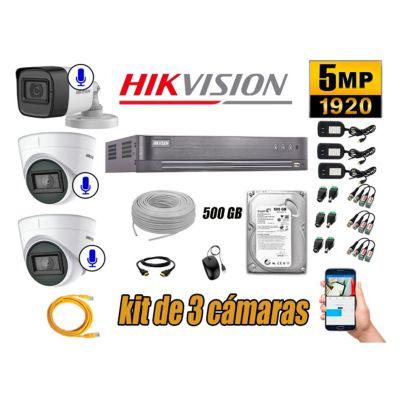 Kit 3 Cámaras de Seguridad Audio Incorporado 5MP Disco 500GB Completo CCTV P2P
