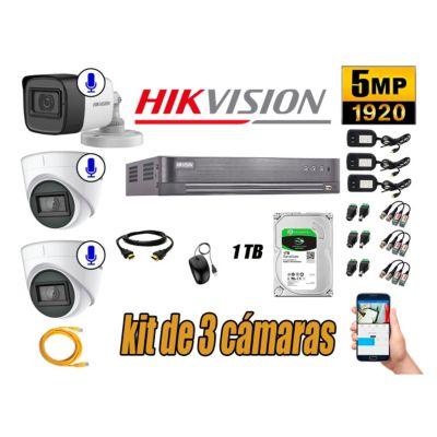 Kit 3 Cámaras de Seguridad Audio Incorporado 5MP Disco 1TB CCTV