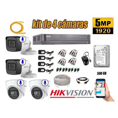 Kit 4 Cámaras de Seguridad Audio Incorporado 5MP Disco 500GB Completo CCTV P2P