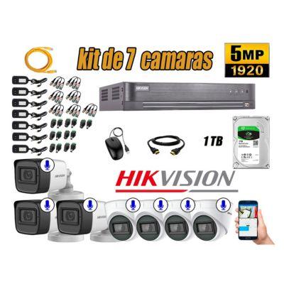 Kit 7 Cámaras de Seguridad Audio Incorporado 5MP Disco 1TB Completo CCTV