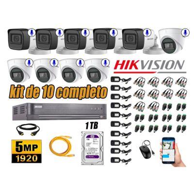 Kit 10 Cámaras de Seguridad Audio Incorporado 5MP Disco 1TB Completo CCTV P2P