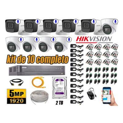 Kit 10 Cámaras de Seguridad Audio Incorporado 5MP Disco 2TB Completo CCTV P2P