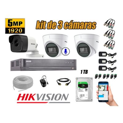 Cámaras de Seguridad Kit 3 5MP | 01 Camara Audio Incorporado Disco 1TB