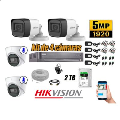 Cámaras de Seguridad Kit 4 5MP | 02 Camaras Audio Incorporado Disco 2TB WD P2P