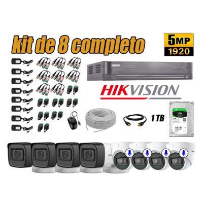 Cámaras de Seguridad Kit 8 5MP | 04 Camaras Audio Incorporado Disco 1TB WD