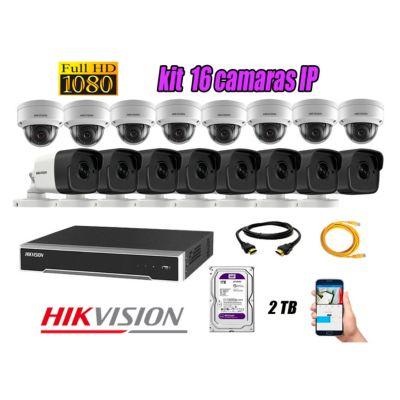 Camara de Seguridad Ip Poe Full HD 1080P Kit 16 Disco 2TB WD Purpura