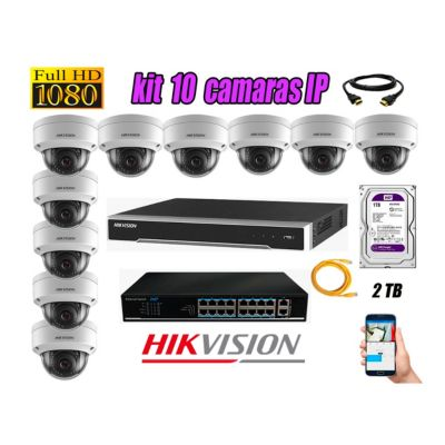 Camara de Seguridad Ip Full HD 1080P Interior Kit 10 Disco 2TB WD Purpura