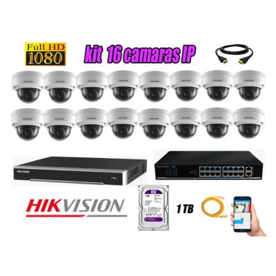 Camara de Seguridad Ip Full HD 1080P Interior Kit 16 Disco 1TB WD Purpura P2P