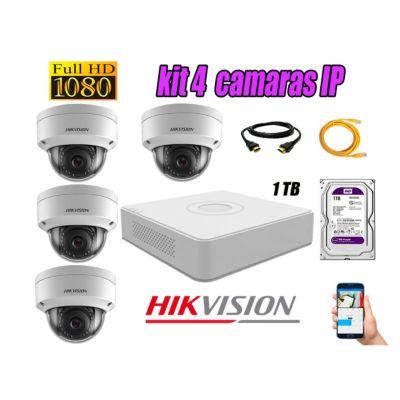 Camara de Seguridad Ip Poe Interior Full HD 1080P Kit 4 Disco 1TB WD Purpura P2P