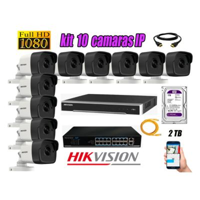 Camara de Seguridad Ip Full HD 1080P Exterior Kit 10 Disco 2TB WD Purpura
