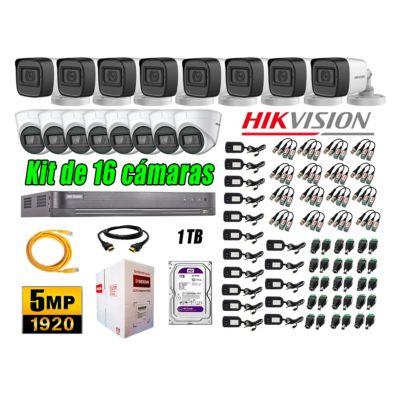 Cámaras de Seguridad Kit 16 5MP + Disco 1TB CCTV Completo