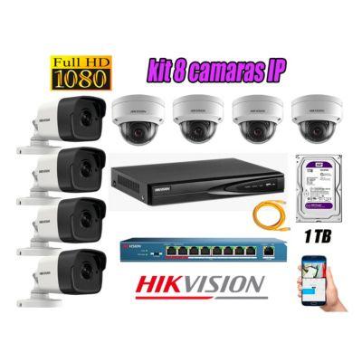 Camara de Seguridad Ip Full HD 1080P Kit 8 Disco 1TB WD Purpura P2P